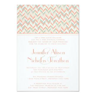 Modern Pastel Colors Herringbone Chevrons Wedding Card