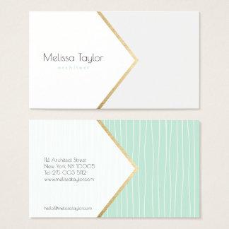 Modern pastel green geometric stripes architect business card