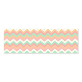 Modern Pastel Mint Green Coral Pink Stripe Chevron Double-Sided Mini Business Cards (Pack Of 20)