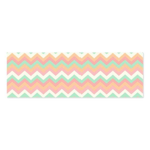 Modern Pastel Mint Green Coral Pink Stripe Chevron Business Cards