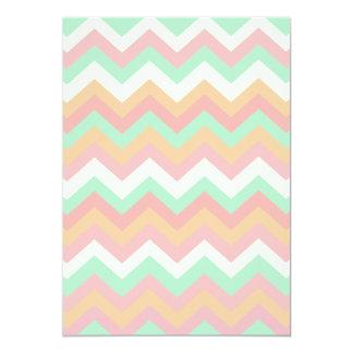 Modern Pastel Mint Green Coral Pink Stripe Chevron Card