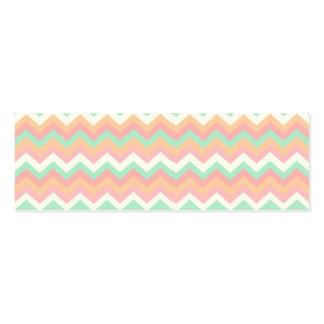 Modern Pastel Mint Green Coral Pink Stripe Chevron Mini Business Card