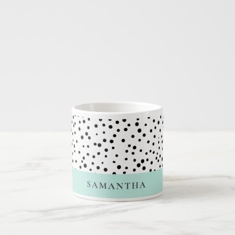Modern Pastel Mint Simple With Personalized Name Espresso Cup