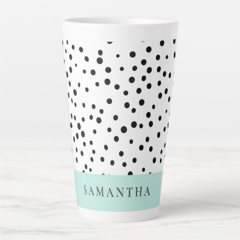 Modern Pastel Mint Simple With Personalized Name Latte Mug
