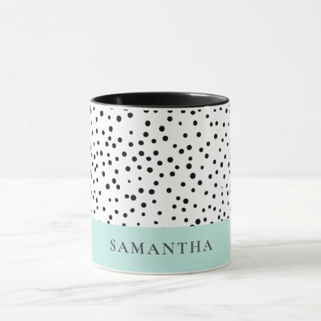 Modern Pastel Mint Simple With Personalized Name Mug