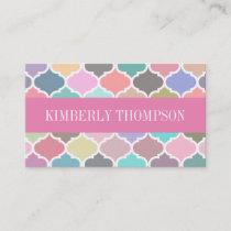 Modern Pastel Multicolor Quatrefoil Business Card