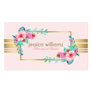 Modern, Pastel Pink, Flowers & Gold Accent Double-Sided Standard Business Cards (Pack Of 100)