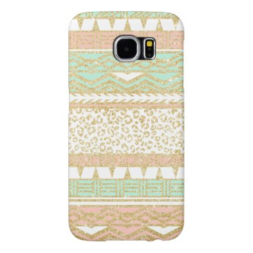 Aztec Themed Modern pastel pink mint green gold aztec pattern samsung galaxy s6 case