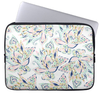 Modern pastel pink watercolor gold floral paisley laptop sleeve
