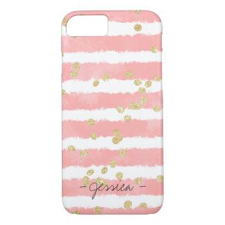 Modern pastel pink watercolor stripe gold confetti iPhone 7 case