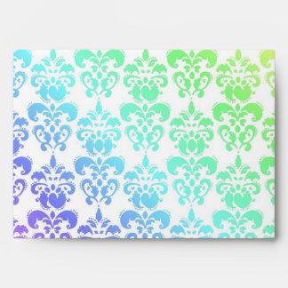 Modern pastel rainbow damask envelopes