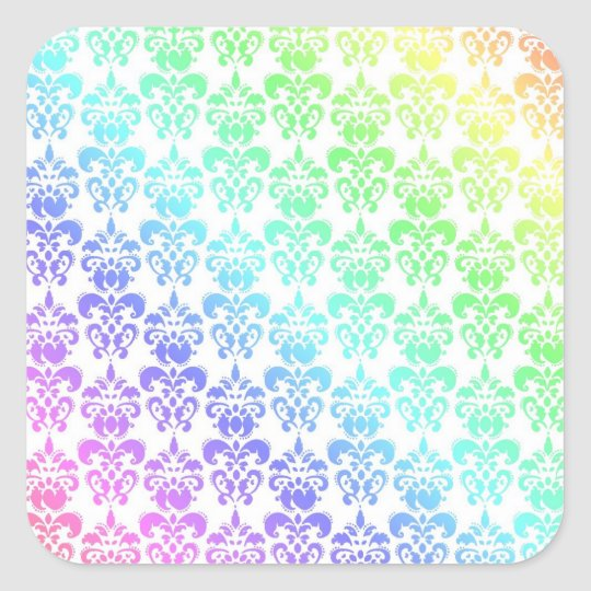 Modern pastel rainbow damask square sticker
