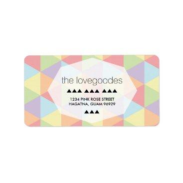 Beach Themed Modern Pastel Rainbow Geometric Wedding Address Label