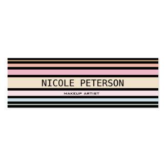 modern pastel stripes mini business card