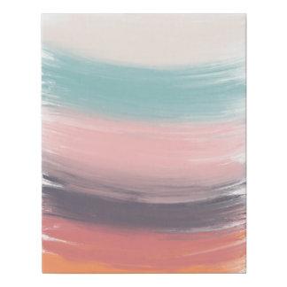 Modern pastel trendy acrylic brushstrokes spring faux canvas print
