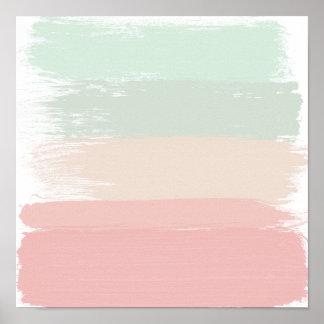 Modern pastel watercolor brushstrokes stripes poster