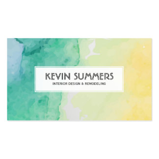Modern Pastel Watercolors Background Business Card