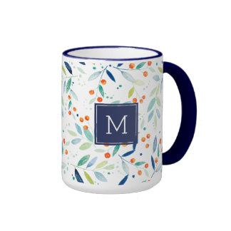 Modern Pastel Watercolors Leafs & Berries Pattern Ringer Mug