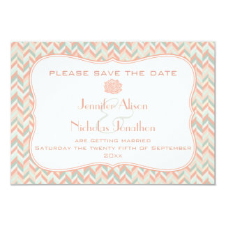 Modern Pastels Chevrons Wedding Save the Date Card