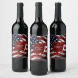 Modern Patriotic Elegant USA Flag Gold Wedding Wine Label
