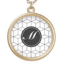 Modern Pattern and Monogram Gold Finish Necklace