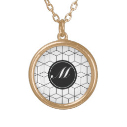 Modern Pattern and Monogram Gold Plated Necklace