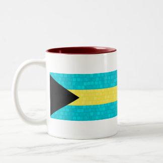 Modern Pattern Bahamian Flag Two-Tone Coffee Mug