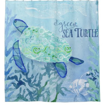 Beach Themed Modern Pattern Beach Sea Turtle Whale Vintage Art Shower Curtain