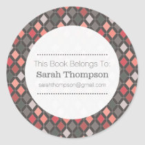 Modern Pattern Bookplate School Name Stickers