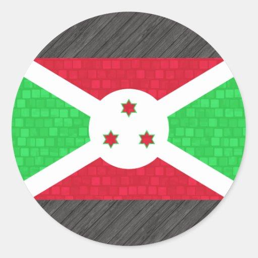 Modern Pattern Burundian Flag Round Sticker