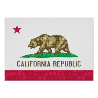 Modern Pattern Californian Flag Poster