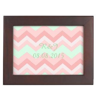 modern pattern coral mint chevron wedding memory box