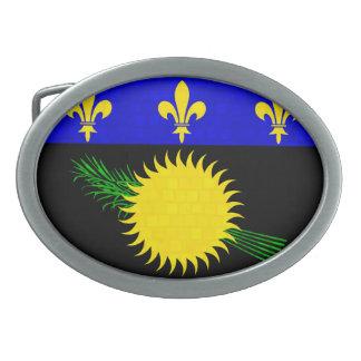 Modern Pattern Guadeloupean Flag Oval Belt Buckles