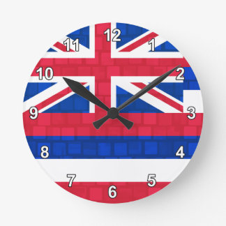 Modern Pattern Hawaiian Flag Round Clock