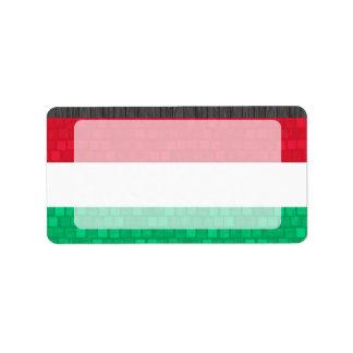 Modern Pattern Hungarian Flag Label
