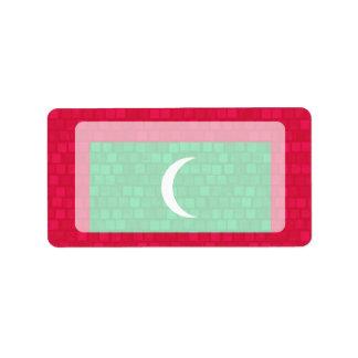 Modern Pattern Maldivan Flag Label