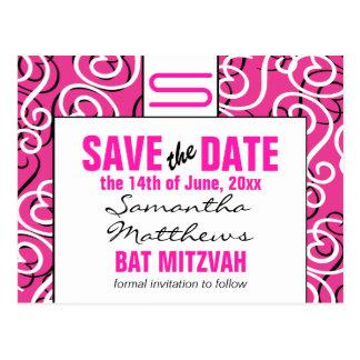 Modern Pattern Monogram Bat Mitzvah Save the Date Postcard