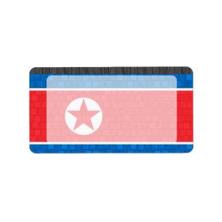 Modern Pattern North Korean Flag Label