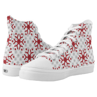 Modern pattern of red grey snowflakes winter High-Top sneakers