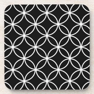 Modern Pattern Overlapping Circles Black White Coaster