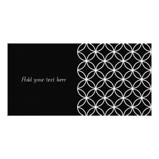 Modern Pattern Overlapping Circles Black White Photo Card