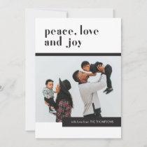 Modern Pattern Peace Love Joy Family Photo Holiday Card