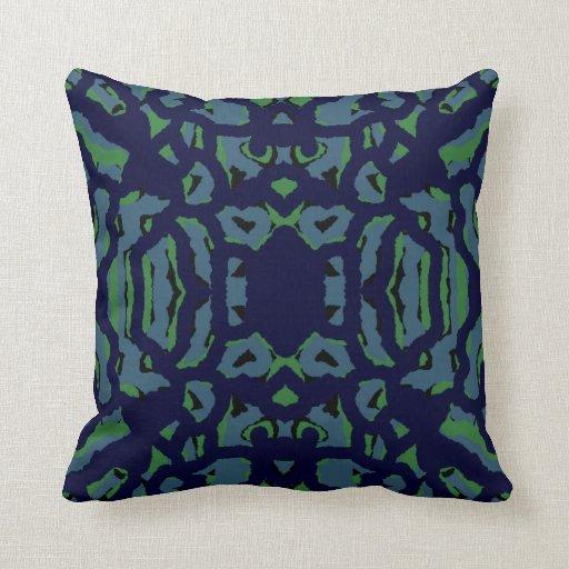 Modern Navy Pillows : Modern Pattern Pillow 4 Home Decor-Navy Blue/Green Zazzle