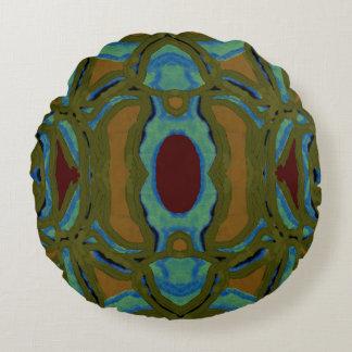 Modern Pattern Pillow- Gold,Green,Maroon,Blue Round Pillow