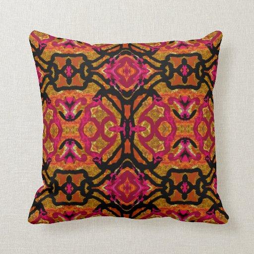 Modern Red Pillow : Modern Pattern Pillow-Home-Red/Orange/Black Throw Pillow Zazzle