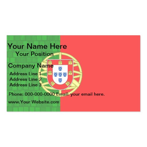 Modern Pattern Portuguese Flag Business Card Template
