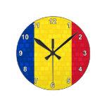 Modern Pattern Romanian Flag Clocks