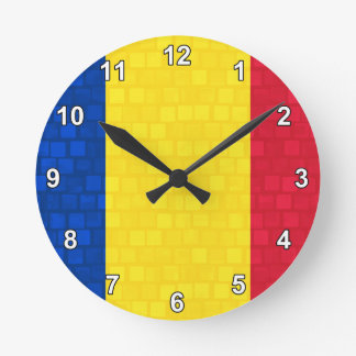 Modern Pattern Romanian Flag Round Clock