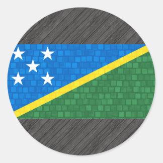 Modern Pattern Solomon Islander Flag Classic Round Sticker
