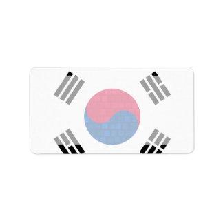 Modern Pattern South Korean Flag Label